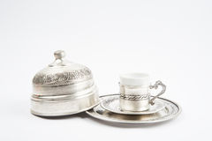 Traditional copper coffee serving set Royalty Free Stock Photography