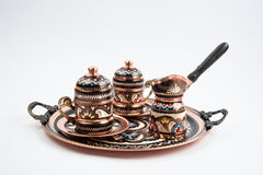 Traditional copper coffee serving set Stock Image