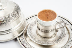 Traditional copper coffee serving set Stock Photos