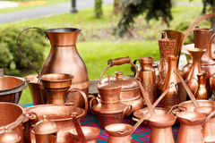 Traditional copper pots Stock Photo
