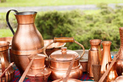 Traditional copper pots from Romania Royalty Free Stock Photos