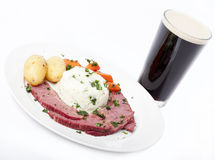 Traditional Corned Beef Dinner with Beer Royalty Free Stock Photo