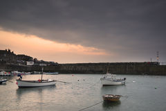 A traditional Cornish fishing village before sunrise Royalty Free Stock Photos