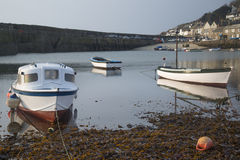 A traditional Cornish fishing village before sunrise. In Cornwall England Royalty Free Stock Images