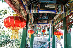 Traditional corridor of Beijing, China at sunny day in summer Stock Image