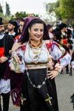 Traditional costume of Dorgali. MURAVERA, ITALY - APRIL 2, 2017: 45th Citrus Festival, parade of the Don Milani folk group of Dorgali - Sardinia Stock Photos