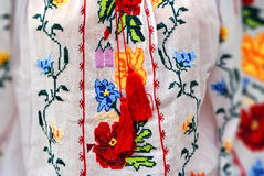 Traditional Costume in Romania. Traditional handmade costume in Romania royalty free stock photos