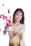 Traditional costume of thailand and Songkran festival concept Stock Image