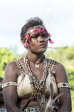 Dancing Girl Solomon Islands with handmade traditional costumes Stock Images