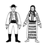 Traditional costumes. Illustration of two persons dressed in traditional costumes Stock Image