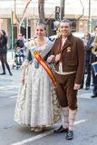 Traditional Costumes During Las Fallas stock photography