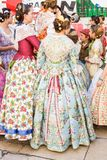 Traditional Costumes During Las Fallas stock images