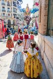 Traditional Costumes During Las Fallas royalty free stock photo