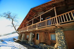 Traditional cottage. In the french alps. Big chalet for winter holidays and christmas Royalty Free Stock Photography