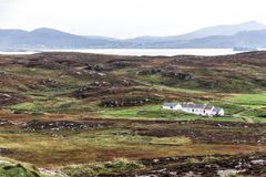 Traditional Cottages in Ireland. Traditional cottages in Donegal along Irelands Wild Atlantic Way, a 2,500km tourist route along the west coast stock images