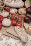 Traditional country food with light background Royalty Free Stock Image
