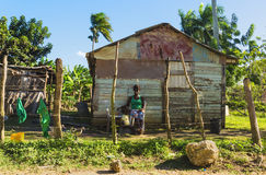 Traditional countryside house - poor woden cabins at the Dominican Republic,. Part of the Greater Antilles archipelago in the Carribean region Royalty Free Stock Photos