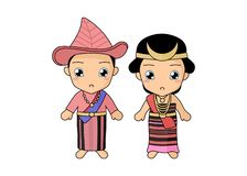 Traditional couple dress of NTT. Couple kids wearing a traditional dress of NTT, Indonesia. Simple illustration by pitripiter stock illustration
