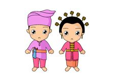 Traditional couple dress of Riau. Simple illustration of couple kids wearing a traditional dress of Riau, Indonesia. Vector image by pitripiter royalty free illustration