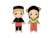 Traditional couple dress of Sulawesi Barat. Simple illustration of couple kids wearing a traditional dress of Sulawesi Barat, Indonesia. Vector image by royalty free illustration