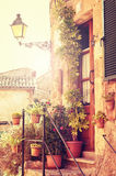 Traditional courtyard in Valldemossa village. Traditional house in Valldemossa village in Mallorca, Spain Stock Images