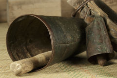 Traditional cowbells of various sizes Royalty Free Stock Image