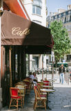 Traditional cozy cafe in the central Paris Royalty Free Stock Photo