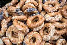 Traditional Cracovian  prezels with salt,  poppy and sesame seeds Stock Image