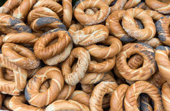 Traditional Cracovian  prezels with salt,  poppy and sesame seeds Royalty Free Stock Photo