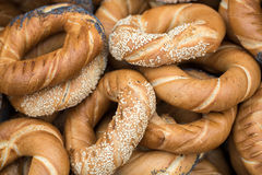 Traditional Cracovian  prezels with salt,  poppy and sesame seeds Royalty Free Stock Image