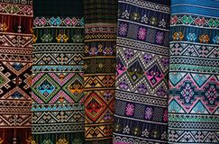 Traditional craft of weaving fabric and Thailand. Stock Images