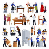 Traditional Craftspeople Flat Icons Set Royalty Free Stock Photography