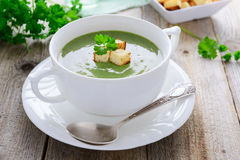 Traditional cream soup from spinach Royalty Free Stock Photography