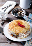 Traditional crepe cake with custard and berry Stock Images