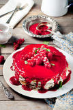 Traditional crepe cake with custard and berry Royalty Free Stock Image