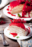 Traditional crepe cake with custard and berry Royalty Free Stock Images