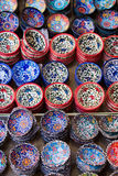 Traditional Cretan painted ceramic dishes for sale at a city centre shop Crete, Greece, Europe. Stock Images