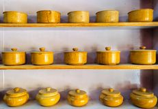 Traditional crockery, bowls made of yellow sandstone Stock Images
