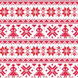 Christmas or winter vector seamless pattern, inspired by Sami Lapland folk art, traditional needlework and embroidery design vector illustration