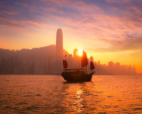 Traditional cruise sailboat at sunset Hong Kong Royalty Free Stock Photos