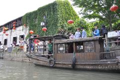 Suzhou, 4th may: The Historic still living Shantang Street or Canal from Suzhou town. Traditional cruise wooden boat on Shantang Canal from Suzhou the Unesco royalty free stock photos