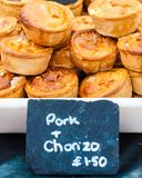 Traditional crusty English pork and choriso pie Royalty Free Stock Photos