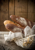 Traditional crusty French baguette bread in Royalty Free Stock Photography
