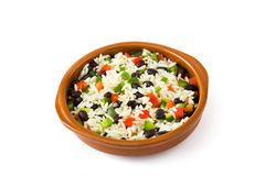 Traditional cuban rice, black beans and peppers isolated. Moros y cristianos. Royalty Free Stock Photos