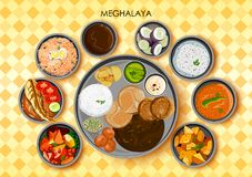 Traditional cuisine and food meal thali of Meghalaya India. Illustration of Traditional cuisine and food meal thali of Meghalaya India Royalty Free Stock Images