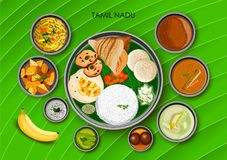 Traditional cuisine and food meal thali of Tamil Nadu India. Illustration of Traditional cuisine and food meal thali of Tamil Nadu India royalty free illustration
