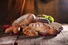 Traditional cuisine on wood table Royalty Free Stock Image