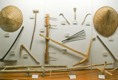 Traditional cultivation tools of Khasi tribals. Exhibited in Don Bosco Museum in Shilong Stock Photo