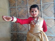 Traditional. Culture silk handlum cute baby model Stock Images