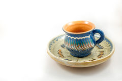 Traditional cup and plate. Romanian blue Stock Photography